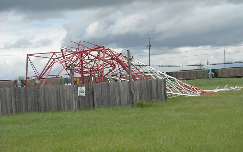 Collapsed AM tower due to high winds