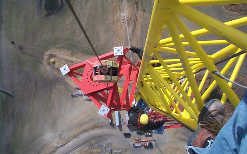 The top section of a 750 foot tower - Going up